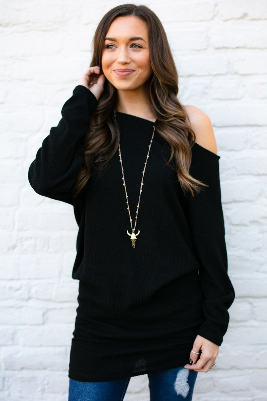 Off Kilter One Shoulder Tunic in Black
