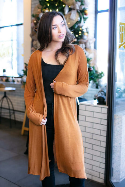 Tan Light Long Cardigan