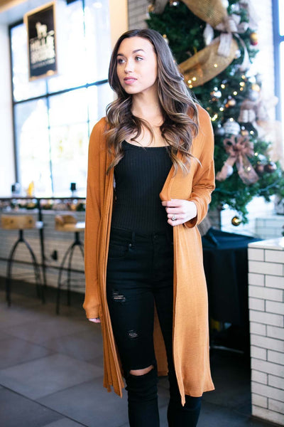 Long Cardigan- Tan