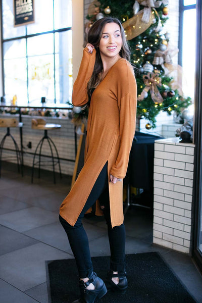 Simple Long Tan Cardigan