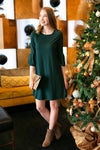 Hunter Green Pleated Sleeve Dress