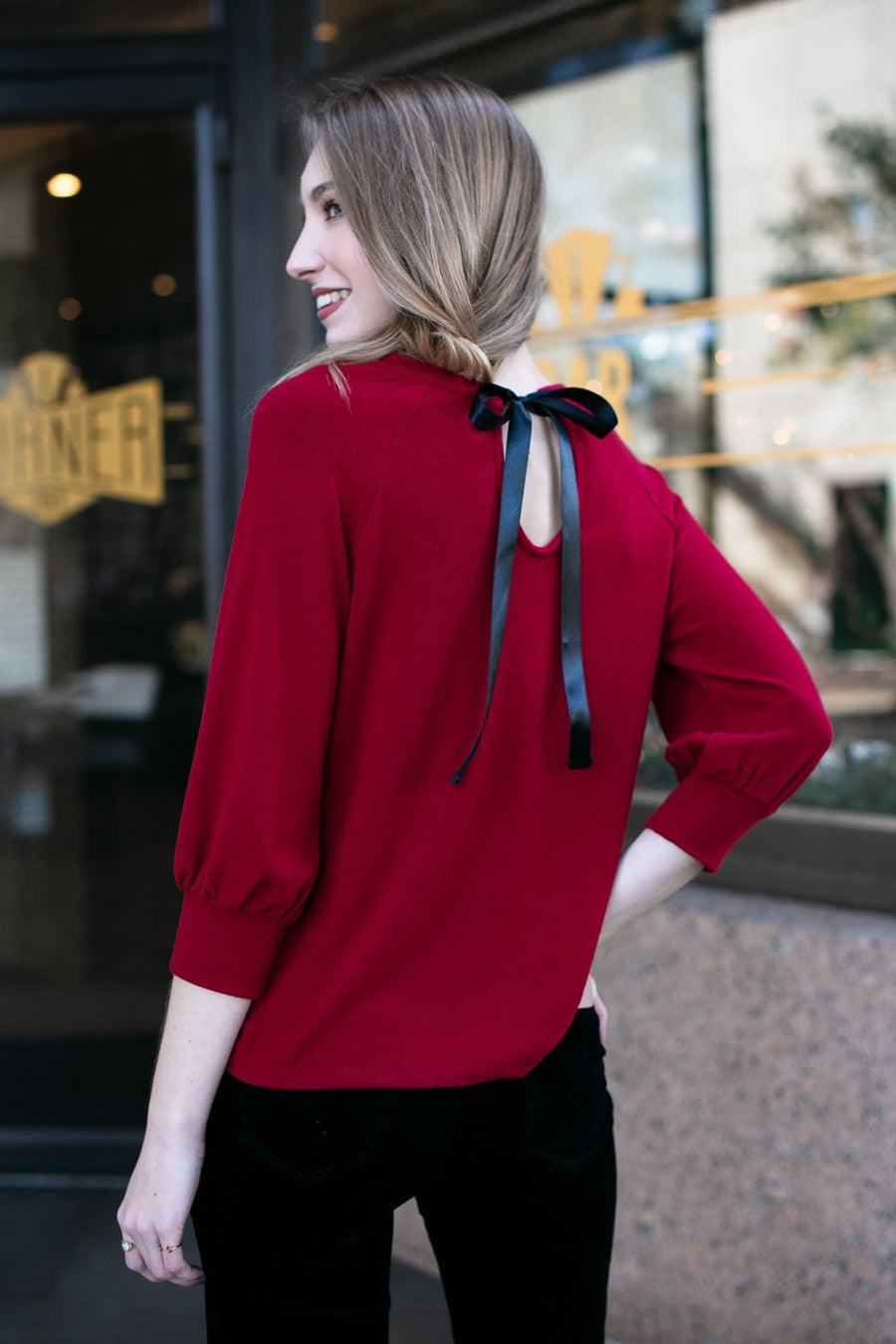 Bow Back Red Top