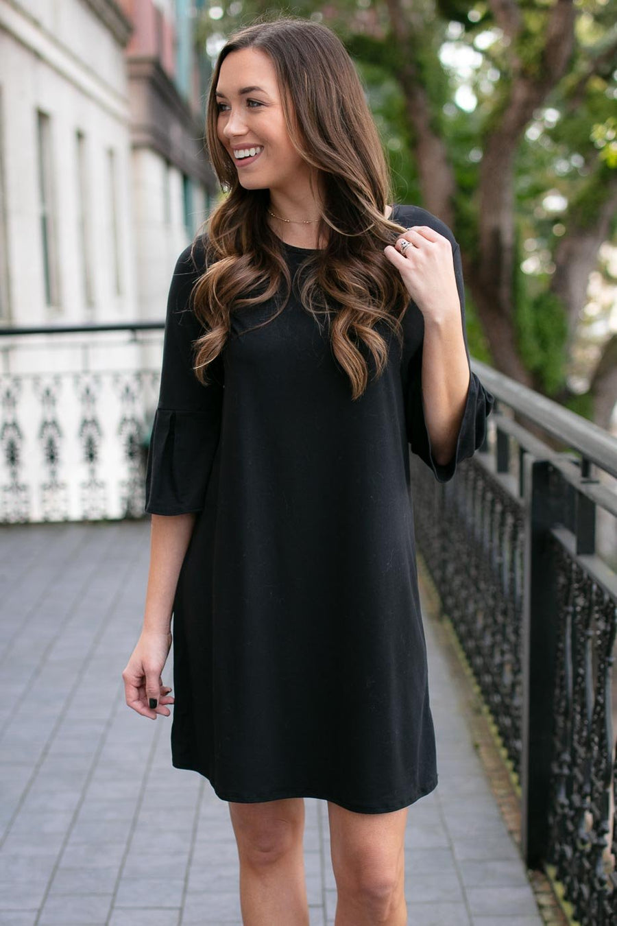 Pleated Sleeve Black Dress