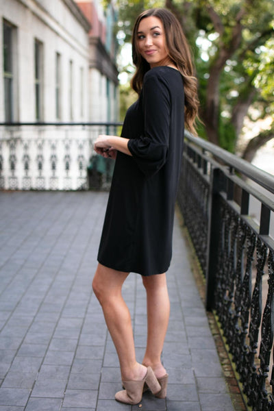 Black Dress- Pleated Sleeves