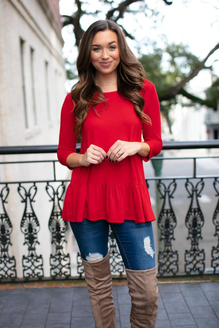 Red Ruffle Hem Top