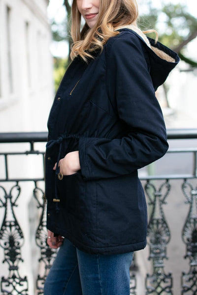 Ace Fur Lined Navy Utility Jacket