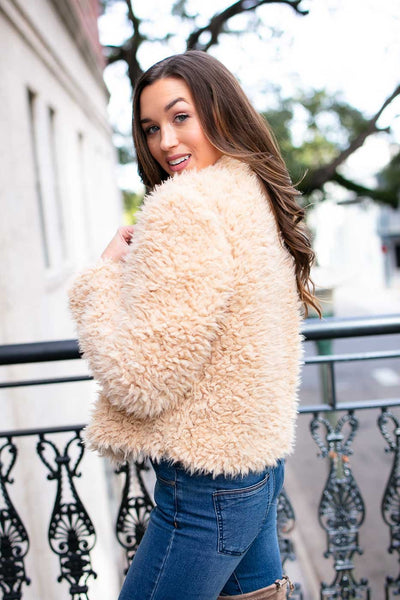 Fuzzy Jacket- Light Tan
