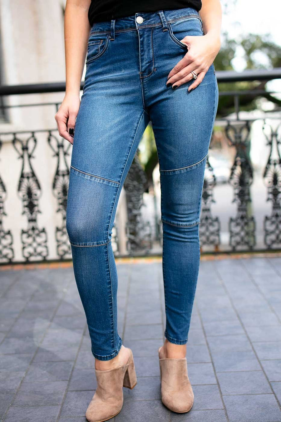 Trina Moto Skinny Jeans - Medium Wash