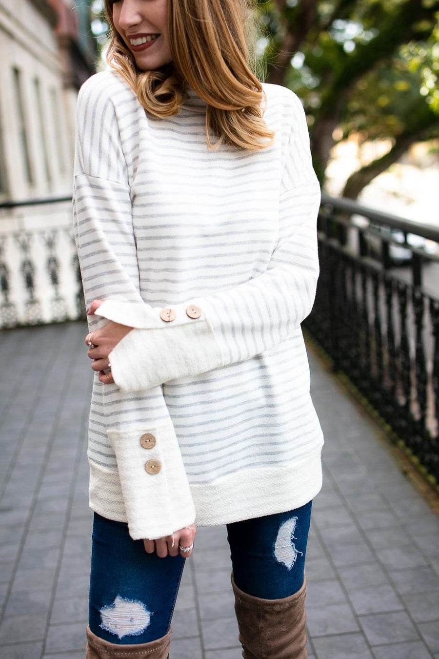 Jennings Stripe French Terry Pullover Tunic