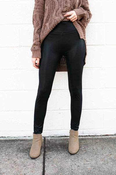 Black Matte Pleather Leggings