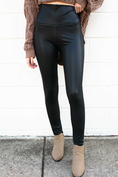 Pleather Black Matte Leggings