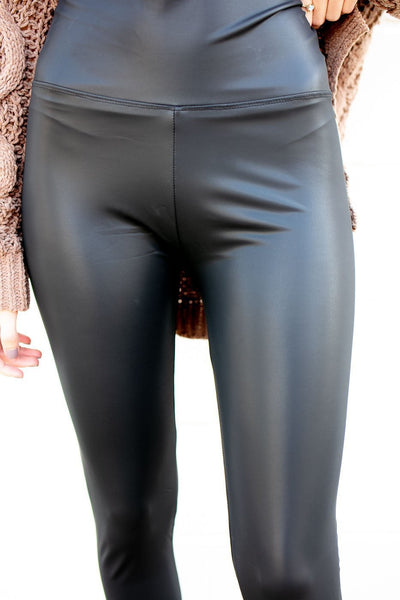Matte Black Pleather Leggings