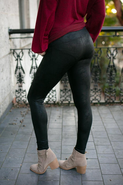 Textured Faux Leather Black Leggings