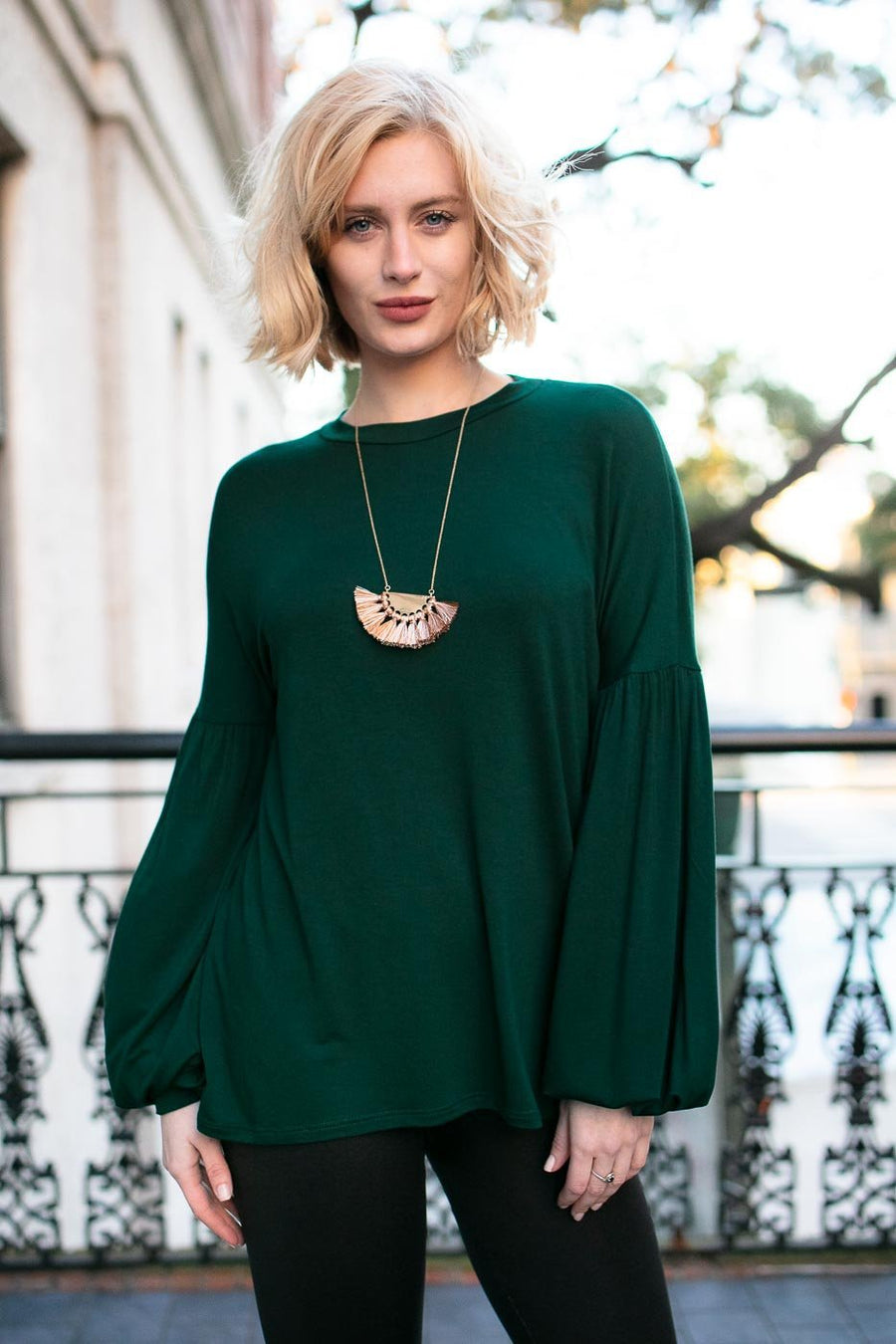 Hunter Green Bubble Sleeve Top