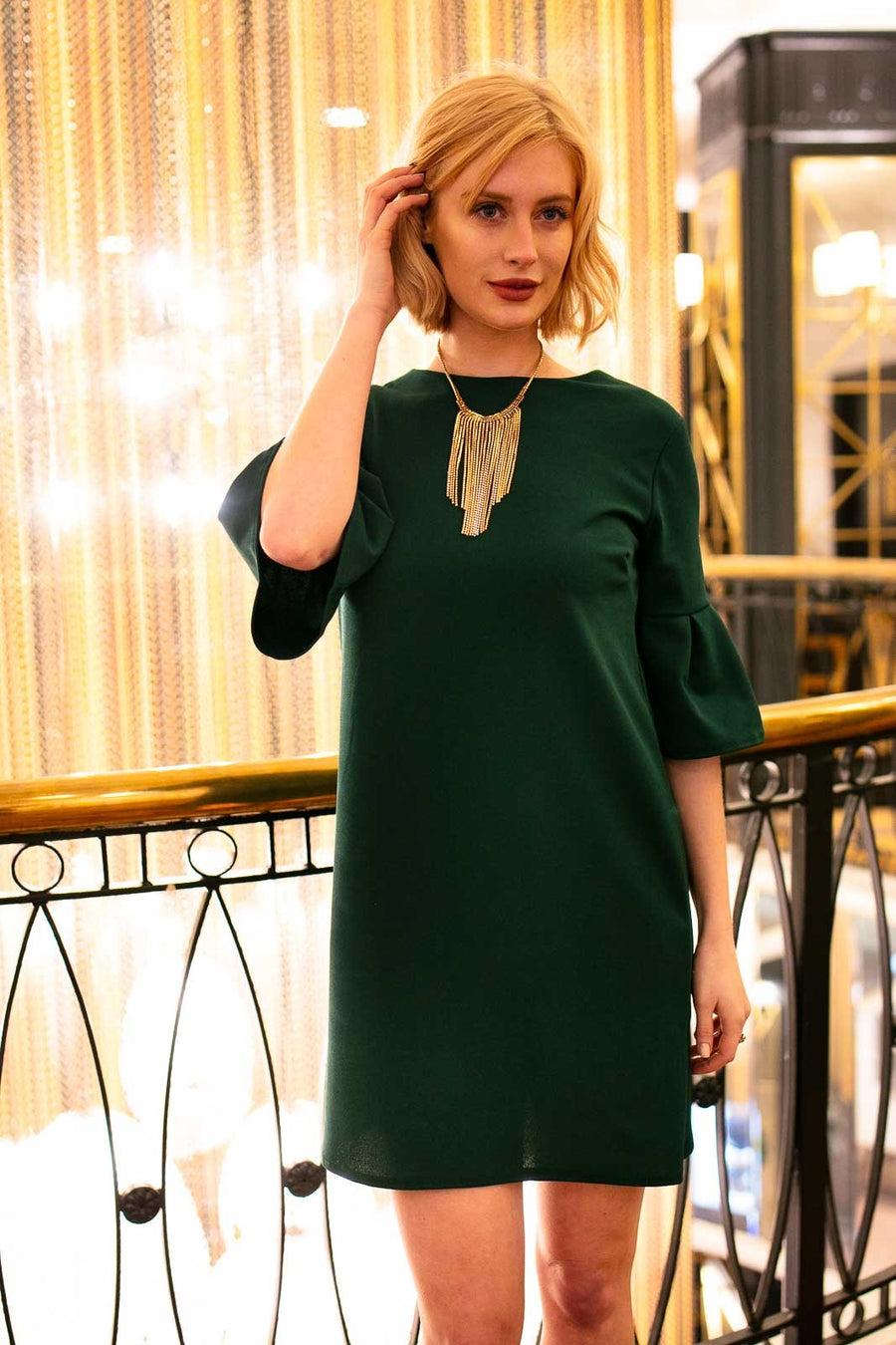 Pleated Sleeve Hunter Green Dress