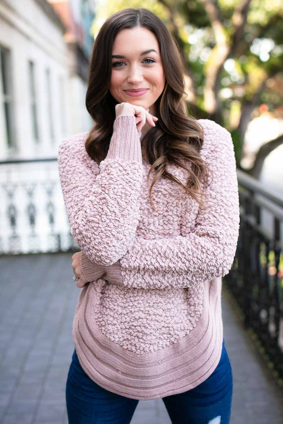 Harvest Moon Fuzzy Sweater - Rose
