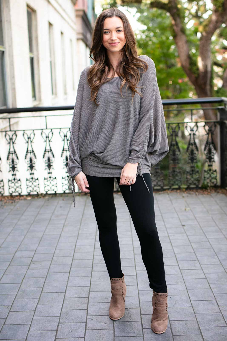 Grey Storm Sheer Dolman Sleeve Tunic