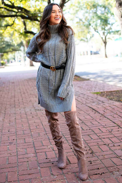 Grey Sweater Turtleneck Tunic