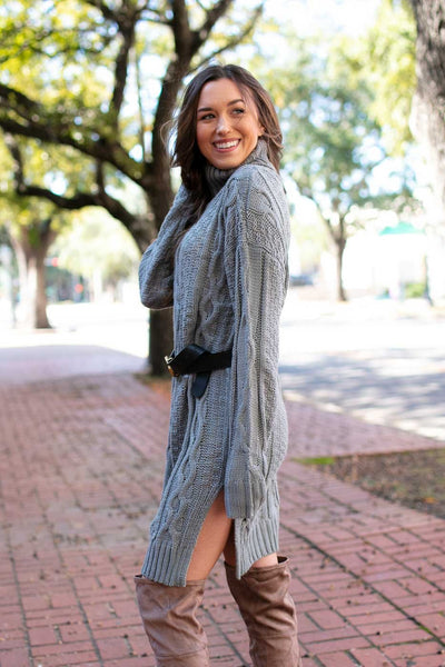 Grey Turtleneck Sweater Tunic