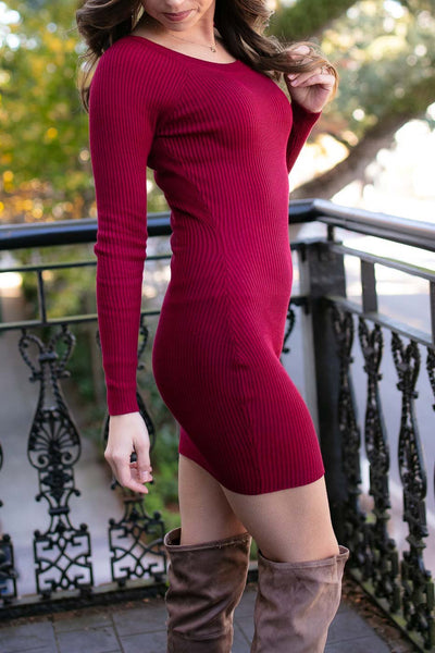 Ribbed Sweater Dress- Burgundy