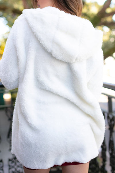 Ivory Fuzzy Jacket With Hood