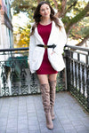 Ribbed Sweater Burgundy Dress