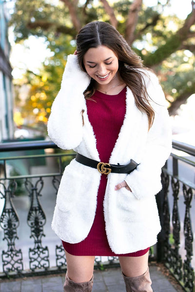 Fuzzy Ivory Hooded Jacket
