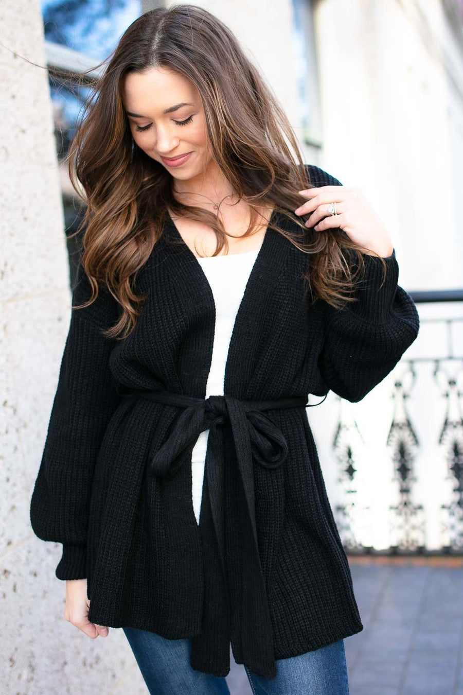 Tie Waist Cardigan In Black