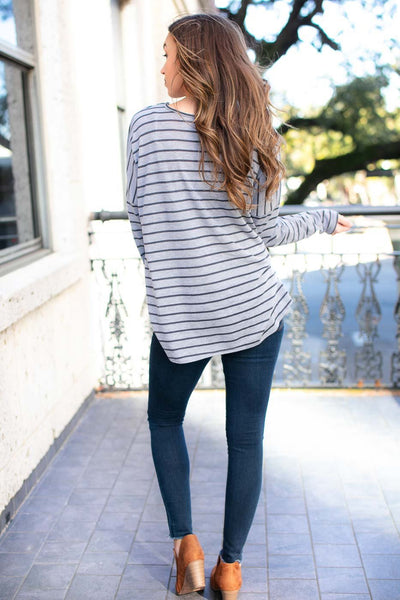 Easy Going Stripe Tie Front Top in Grey