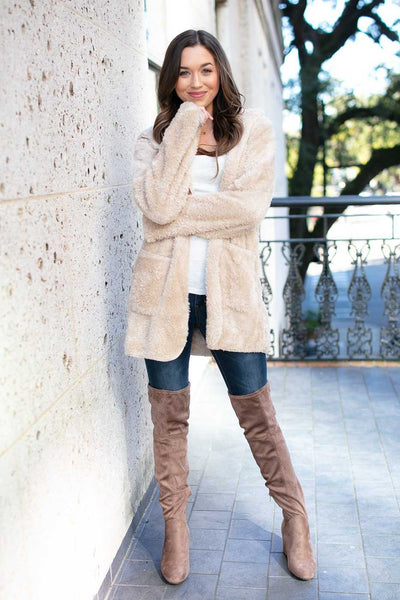 Faux Fur Fuzzy Beige Jacket