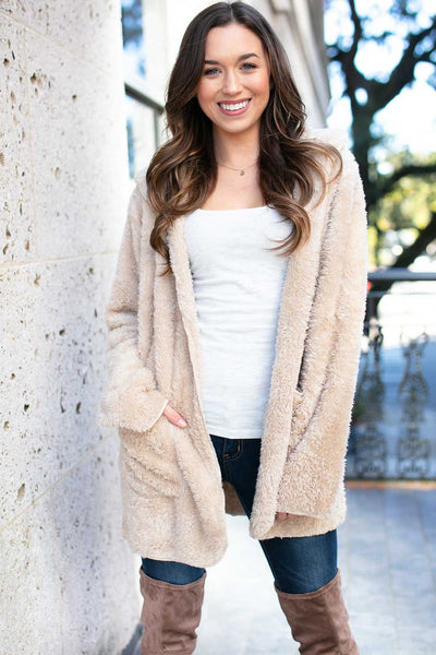 Stronger Faux Fur Beige Fuzzy Jacket