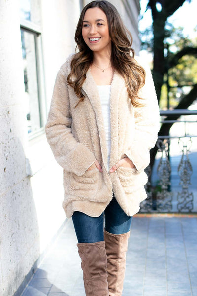 Faux Fur Fuzzy Jacket- Beige
