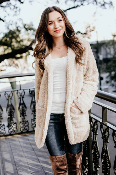 Beige Faux Fur Fuzzy Jacket