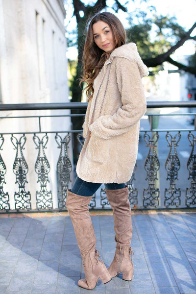 Fuzzy Hooded Beige Jacket