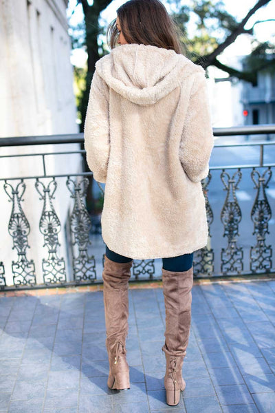Hooded Fuzzy Jacket- Beige