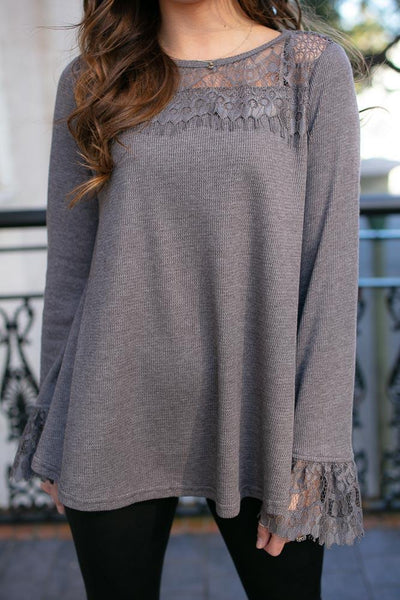 Grey Lace Detail Thermal Top