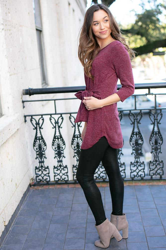 Lola Tie Waist Tunic in Wine