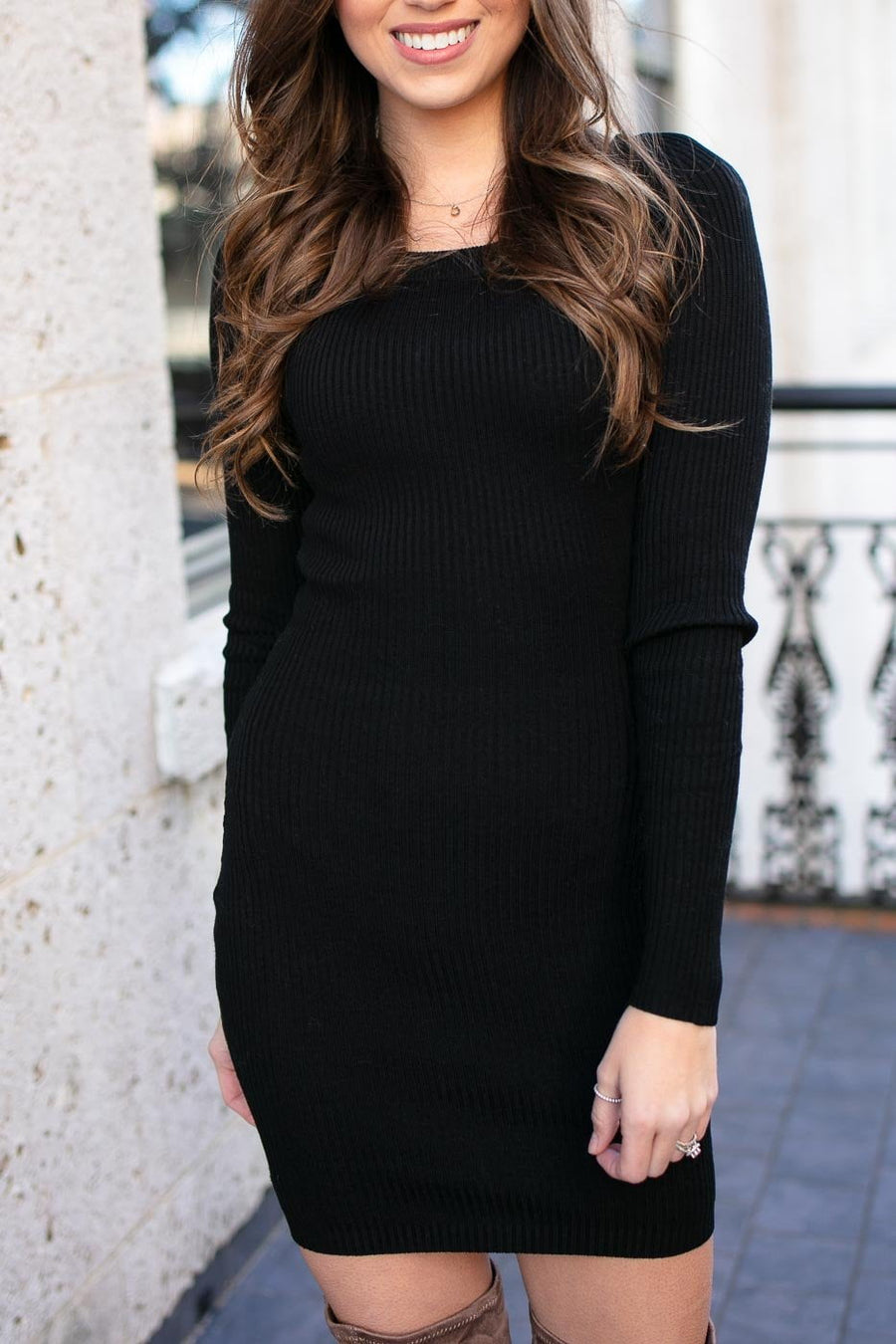 Never Ordinary Ribbed Sweater Dress in Black