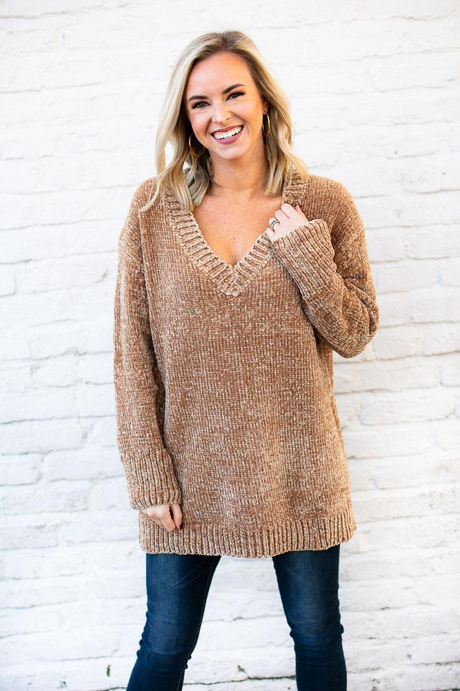We Made It Camel Chenille Sweater Tunic