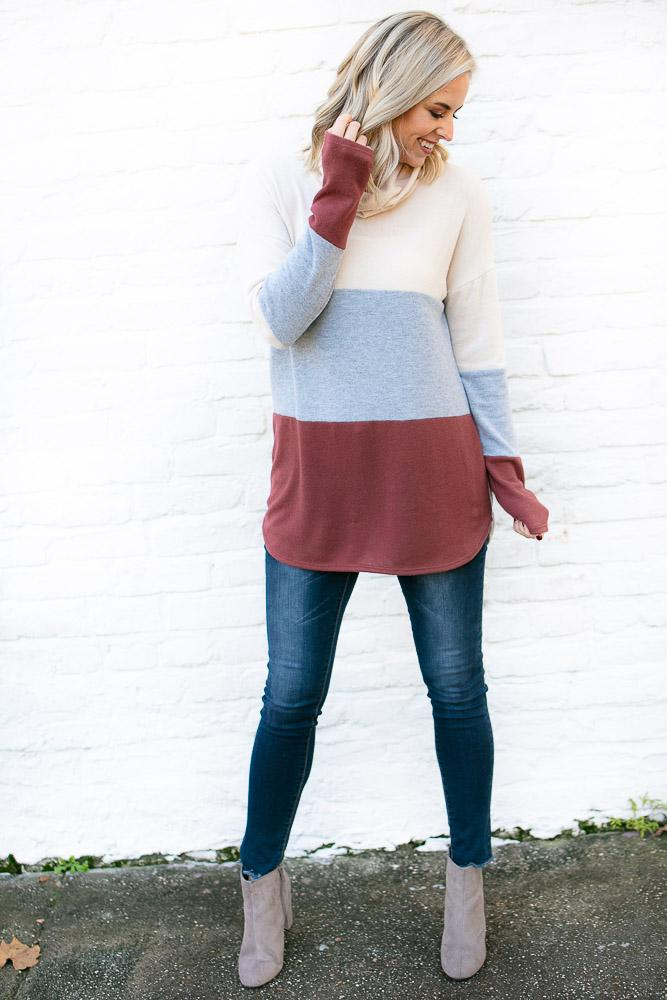 On the Rise Color Block Cowl Neck Tunic