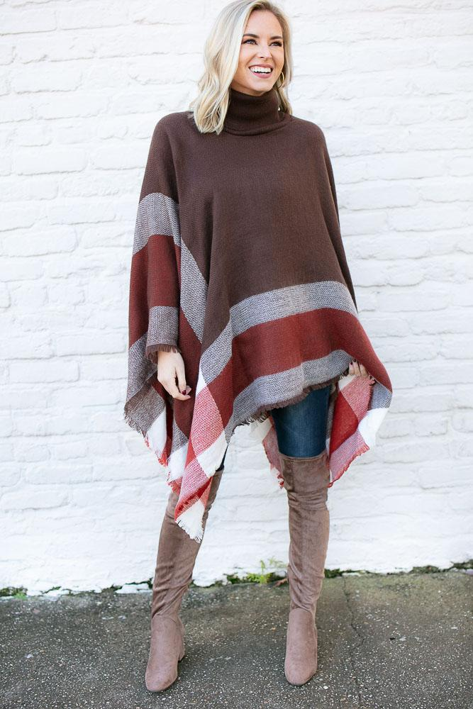 Turtleneck Brown Plaid Poncho