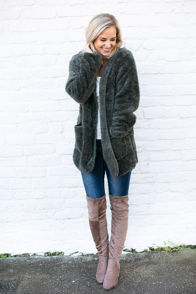 Stronger Faux Fur Olive Fuzzy Jacket