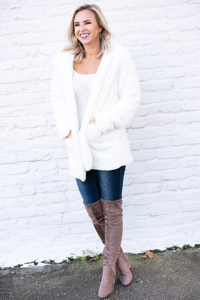 Stronger Faux Fur Ivory Fuzzy Jacket