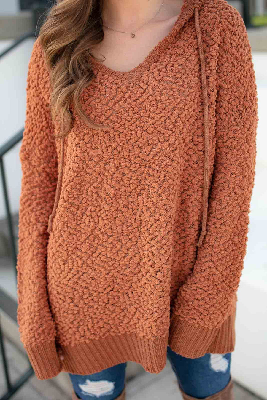 Longing for You Popcorn Hoodie in Rust