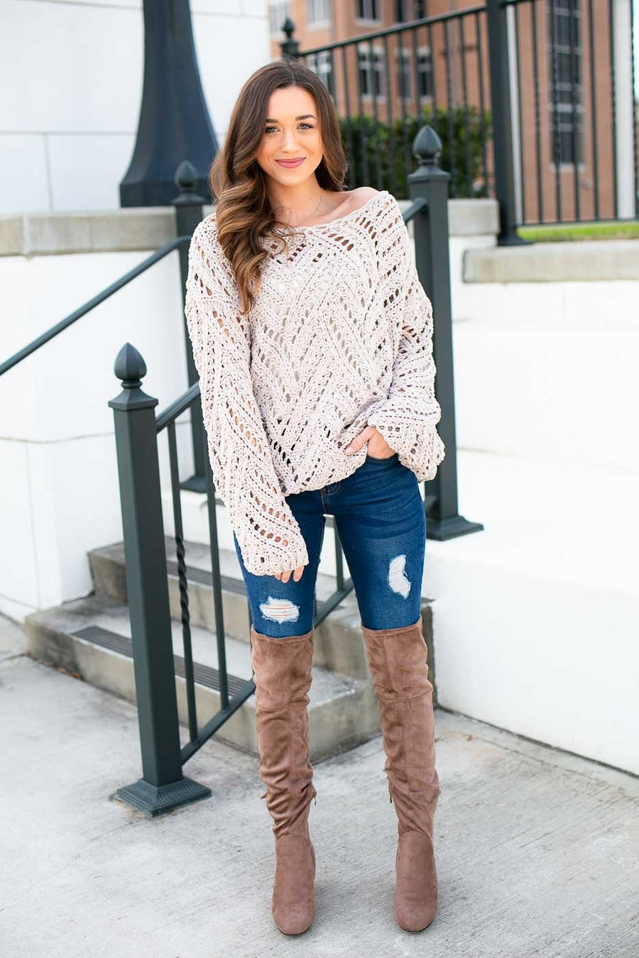 Nude Open Knit Sweater