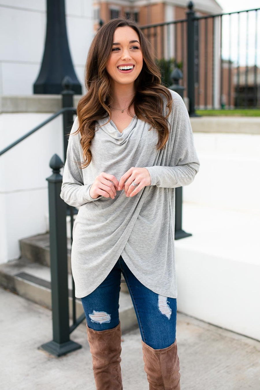 Grey Swoop Neck Top