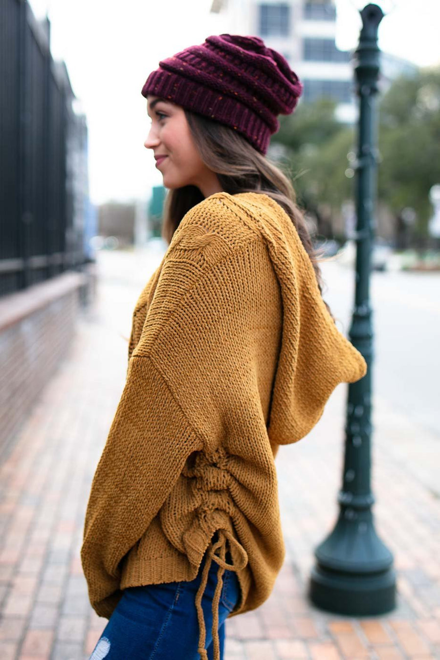 Muted Chenille Mustard Pullover