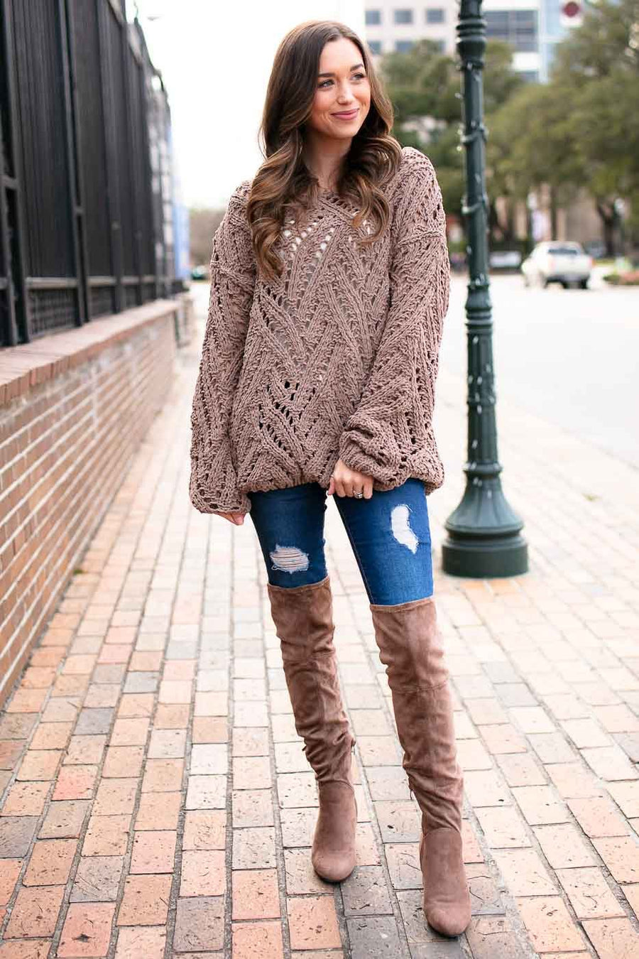 Mocha Open Knit Sweater