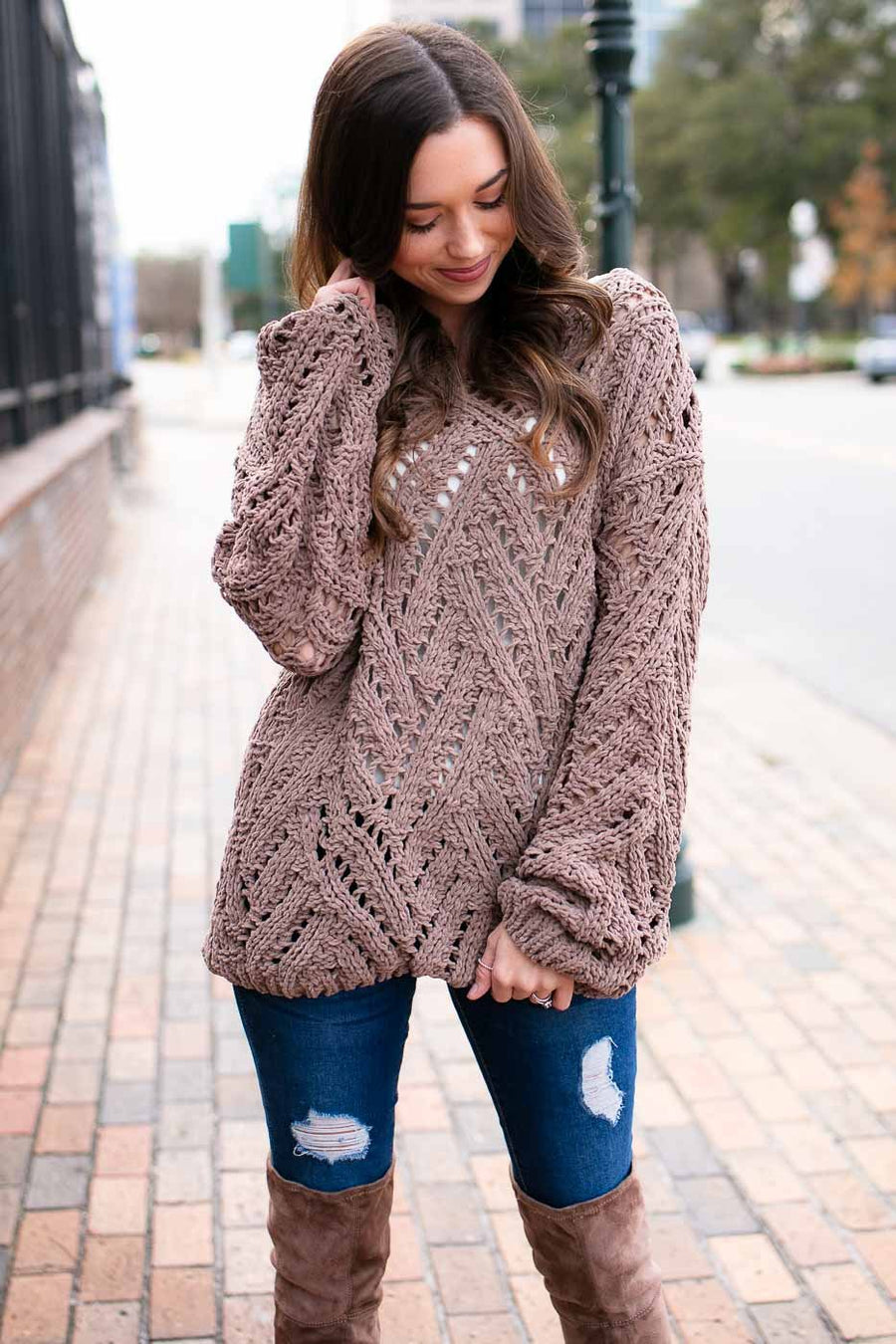Open Knit Mocha Sweater
