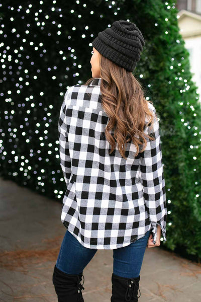 Fur Lined Plaid Top